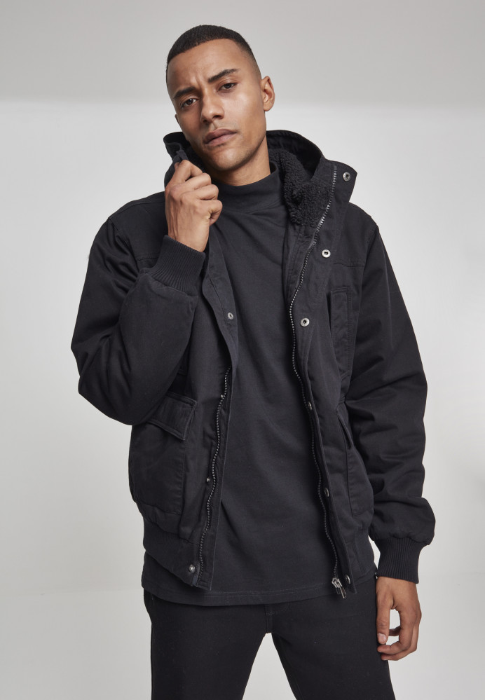 Pánska Bunda Urban Classics Hooded Cotton Jacket black