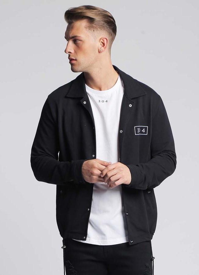 72aeccac732f Pánska čierna košeľa s dlhým rukávom 304 Clothing - Rybárske bundy a ...