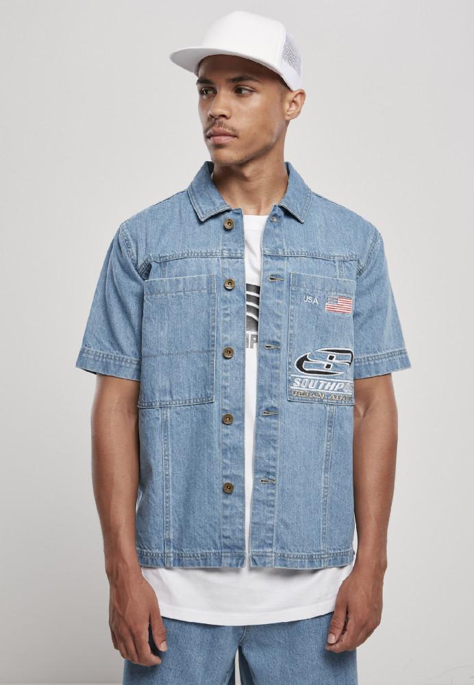 Pánska košeľa Southpole Denim Shirt Farba: mid blue,