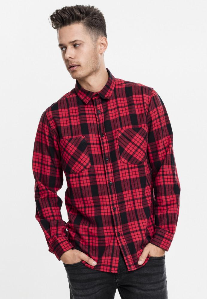 Pánska košeľa URBAN CLASSICS Checked Flanell Shirt 2 redblk
