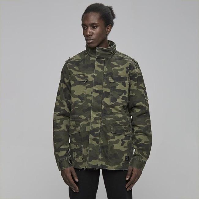 Pánska maskáčová bunda Cayler & Sons All Day Denim Army Denim Jacket woodland camo Size: L