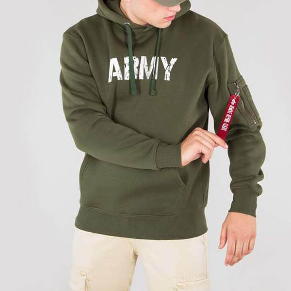 Pánska mikina Alpha Industries Army Nav Hoody Army Green