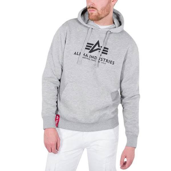 Pánska mikina Alpha Industries Basic Hoody Grey
