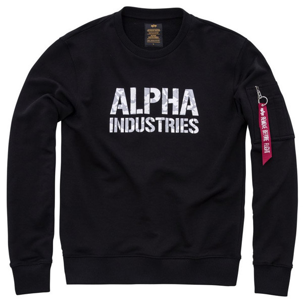 PÁNSKA MIKINA ALPHA INDUSTRIES CAMO PRINT SWEAT BLACK WHITE