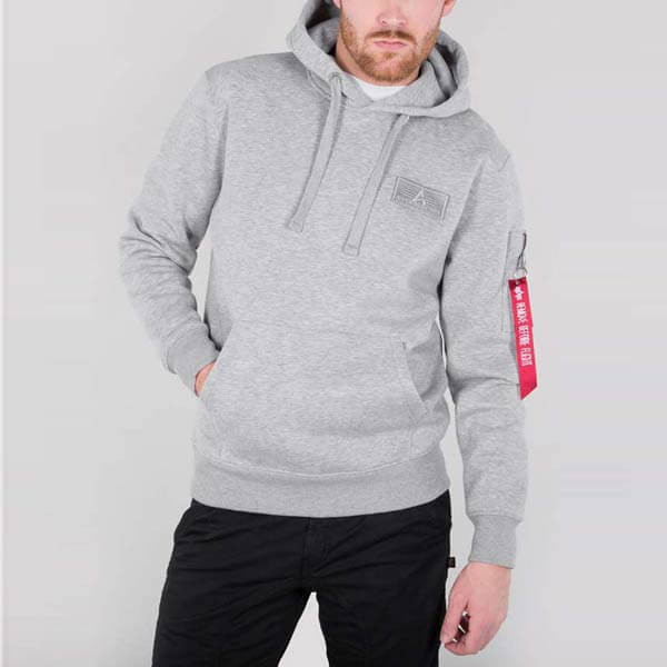 Pánska mikina Alpha Industries Red Stripe Hoody Grey