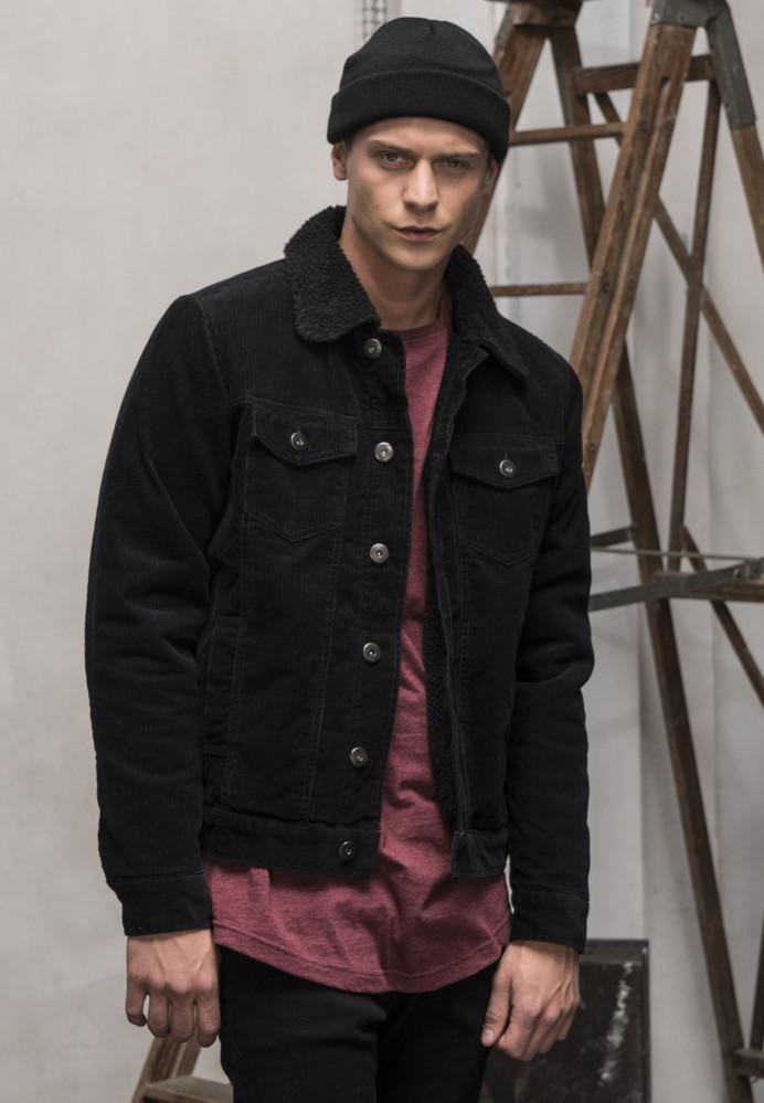 Pánska prechodná bunda Urban Classics Sherpa Corduroy Jacket black/black
