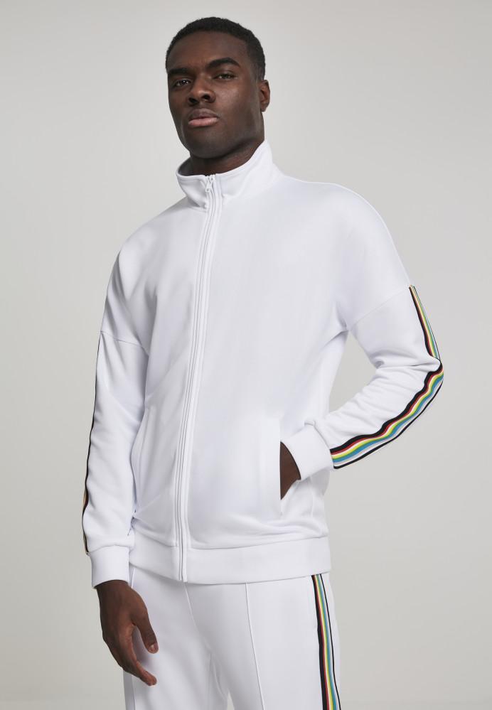 Pánska prechodná bunda Urban Classics Sleeve Taped Track Jacket wht/multicolor
