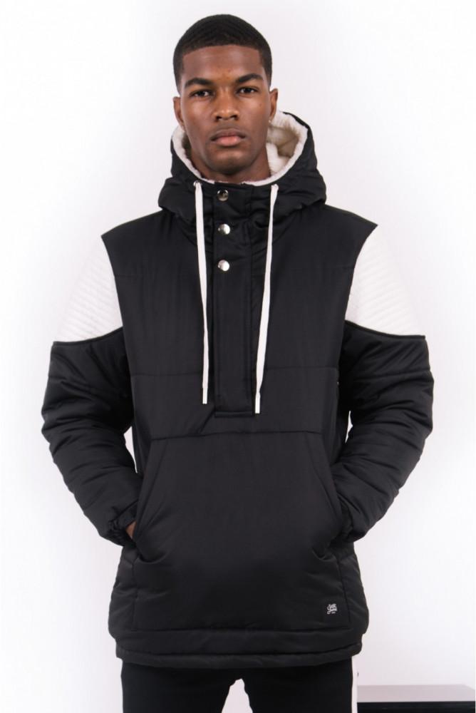 Pánska zimná bunda Sixth June biker half zipped puffer jacket black white