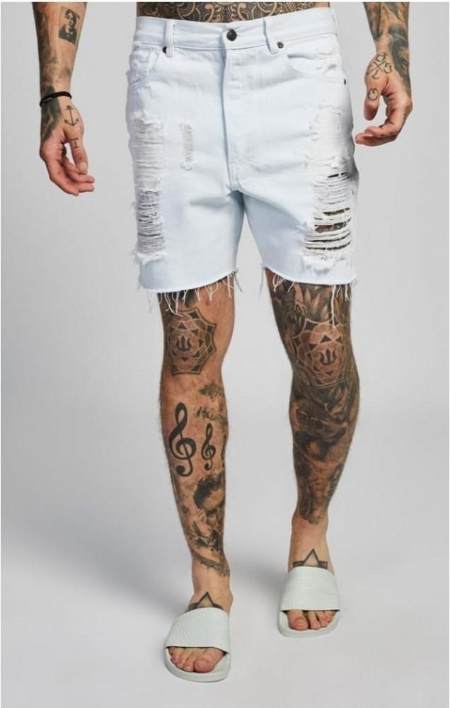 Pánske biele riflové kraťasy Sik Silk - Pánske krátke nohavice ... 7a67ab4ec8a