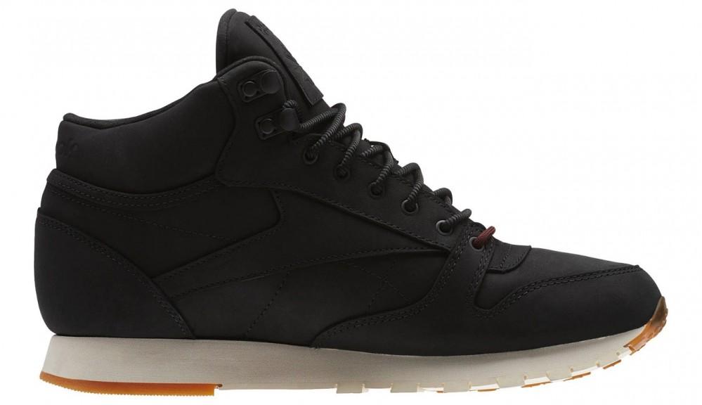 Pánske čierne kožené kotníkové tenisky Reebok Classics Mid GTX ... d89d695511c