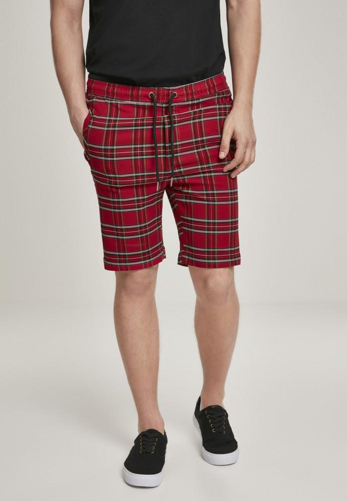 Pánske kraťasy URBAN CLASSICS Checker Shorts red/blk