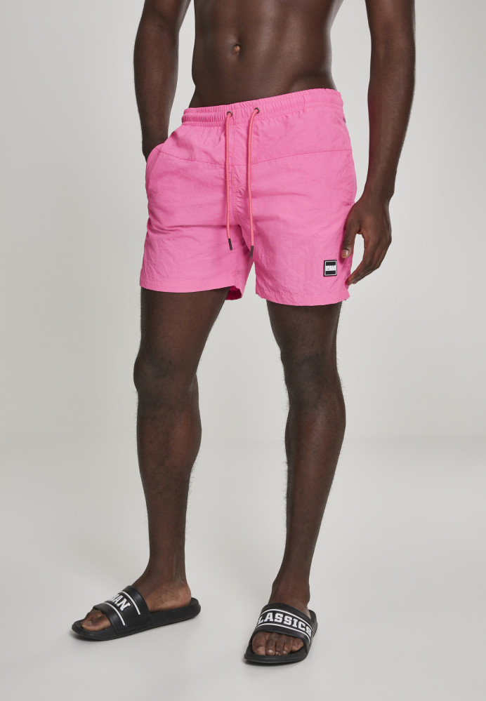 Pánske kúpacie kraťase Urban Classics Block Swim Shorts neonpink