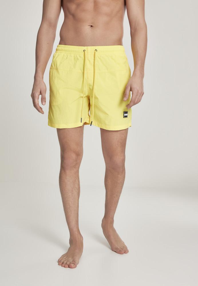 Pánske kúpacie kraťase Urban Classics Block Swim Shorts neonyellow