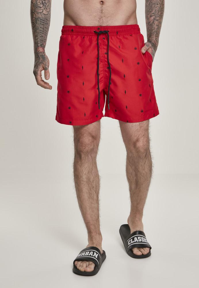 Pánske kúpacie kraťase Urban Classics Embroidery Swim Shorts leaf/firered/navy