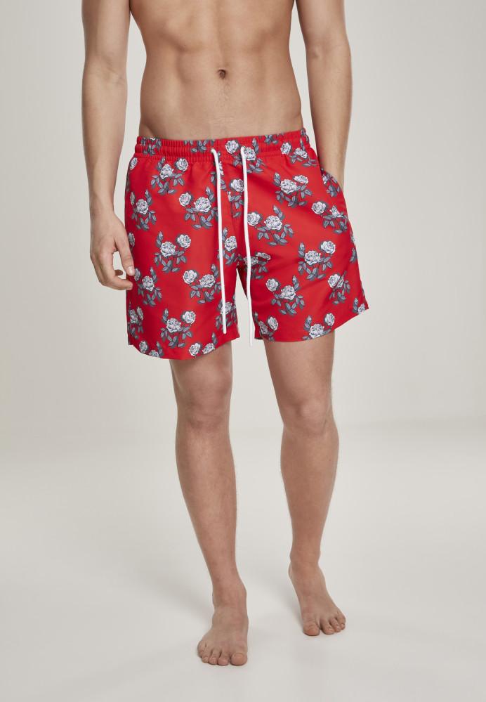 Pánske kúpacie kraťase Urban Classics Pattern Swim Shorts firered/rose