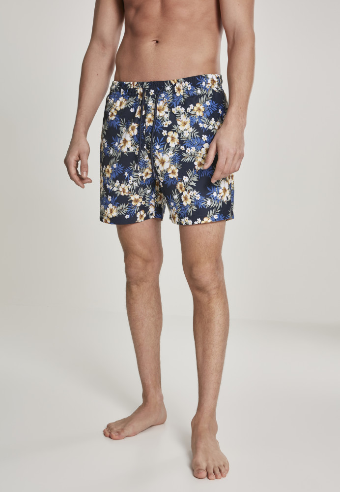 Pánske kúpacie kraťase Urban Classics Pattern Swim Shorts hibiscus