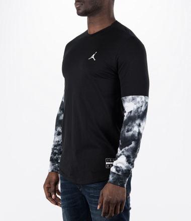 9c4615a8dec Pánske tričko AIR JORDAN CLOUDED NIGHTMARES L S TEE BLACK WHITE ...