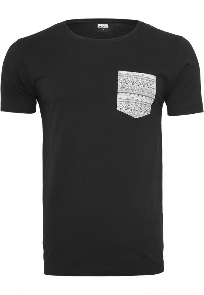Pánske tričko s krátkym rukávom URBAN CLASSICS Contrast Pocket Tee blk/aztec
