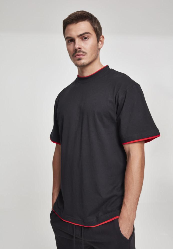 Pánske tričko s krátkym rukávom URBAN CLASSICS Contrast Tall Tee blk/red
