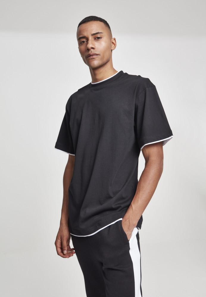 Pánske tričko s krátkym rukávom URBAN CLASSICS Contrast Tall Tee blk/wht