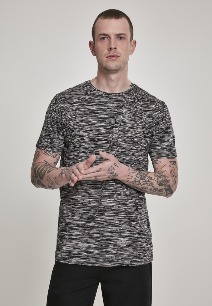 Pánske tričko s krátkym rukávom URBAN CLASSICS Striped Melange Tee blk/gry