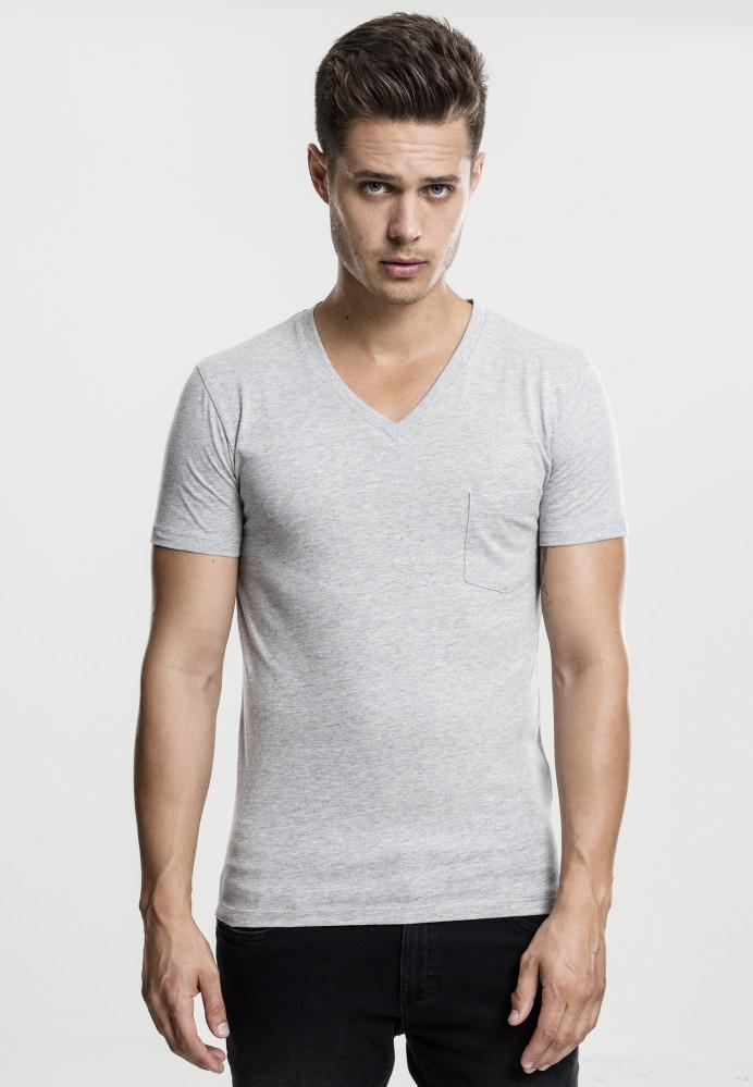 Pánske tričko s krátkym rukávom URBAN CLASSICS V-Neck Pocket Tee grey