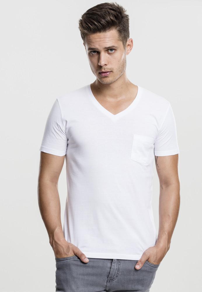 Pánske tričko s krátkym rukávom URBAN CLASSICS V-Neck Pocket Tee white