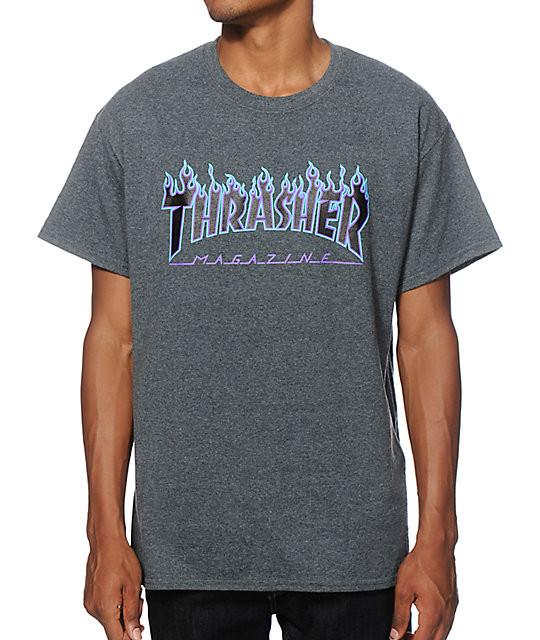 Pánske tričko Thrasher Flame logo dark heather
