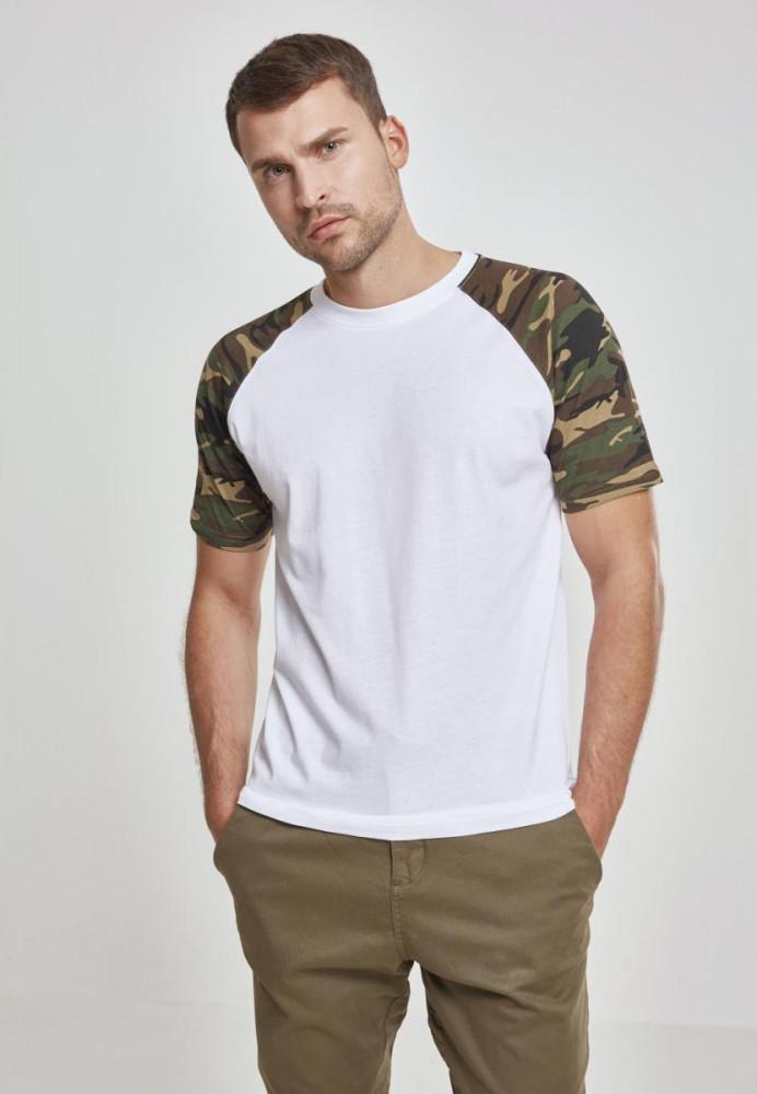 Pánske tričko URBAN CLASSICS RAGLAN CONTRAST TEE wht/woodcamo