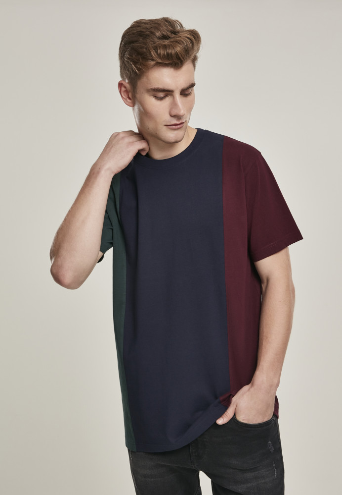 Pánske tričko URBAN CLASSICS Tripple Tee bottlegreen/midnightnavy
