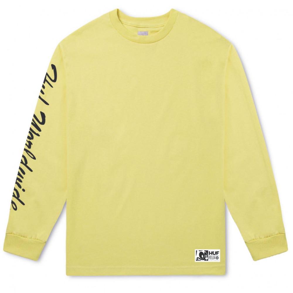 81d0bd58f7ed Pánske žlté tričko s dlhým rukávom HUF Felix Santee L S Tee - Pánske ...