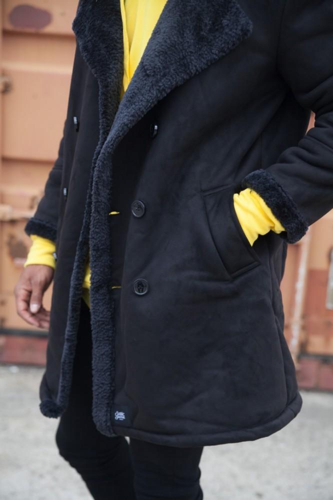 Pánsky čierny semišový kabát Sixth June Peacoat - Pánske kabáty ... 5c27b470666