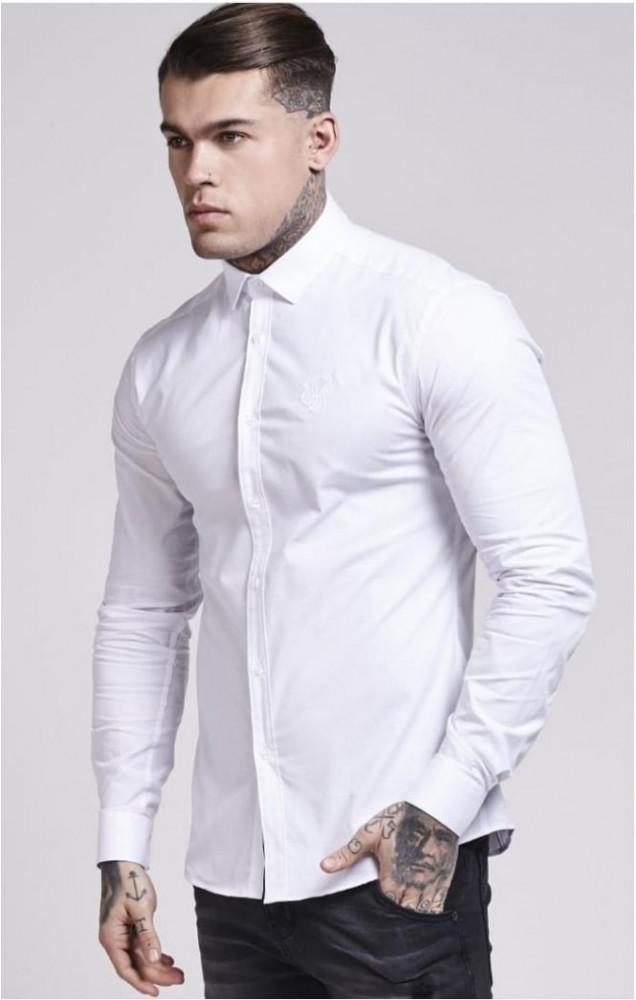 SIK SILK Pánska biela košeľa s dlhým rukávom SikSilk Stretch Crisp Farba: Biela,