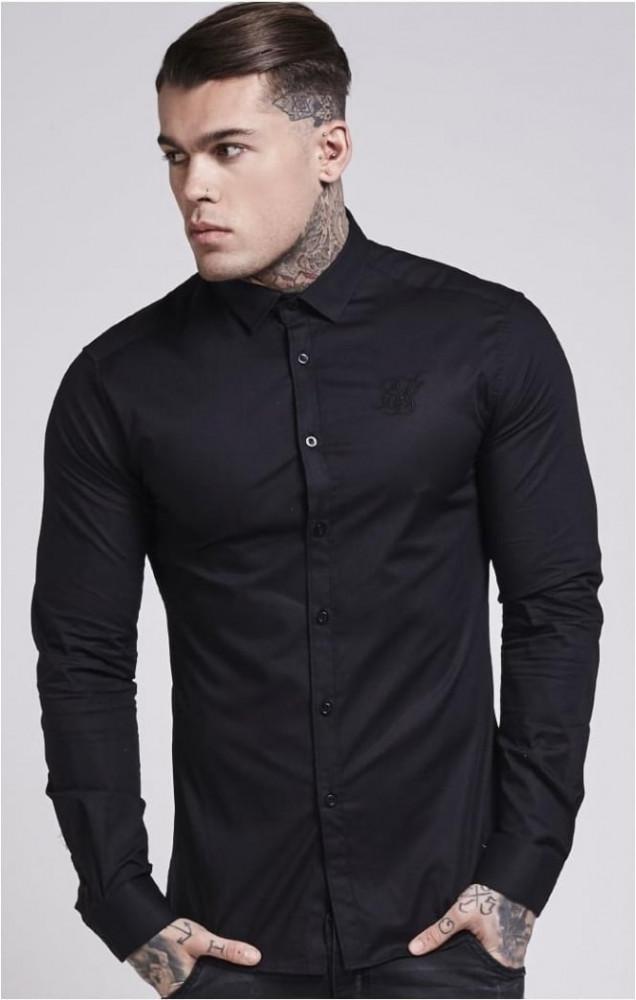 ca3942b199e7 SIK SILK Pánska čierna košeľa s dlhým rukávom SikSilk stretch Crisp Farba   Čierna