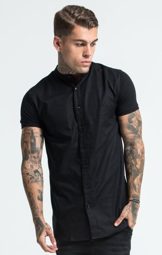 SIK SILK Pánska čierna košeľa SikSilk Grandad Collar Jersey Farba: Čierna,