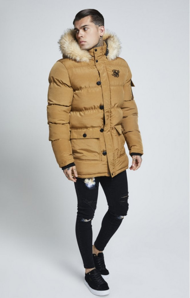 SIK SILK Pánska hnedá bunda na zimu SikSilk Puff Parka - Pánske ... 1dc63309762
