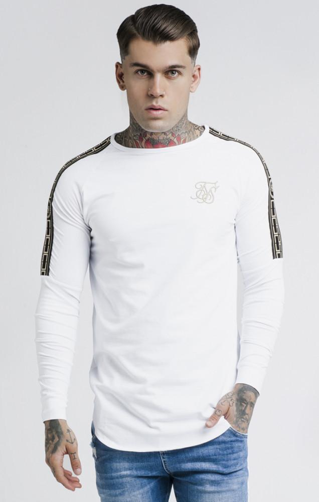 SIK SILK Pánske biele tričko s dlhým rukávom SikSilk Cartel Gym Tee