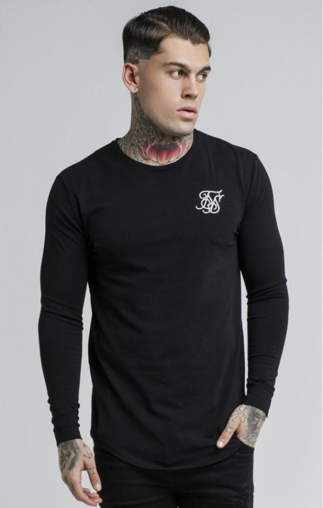 32d8e4427176 SIK SILK Pánske čierne tričko s dlhým rukávom SikSilk Long Sleeve Gym Tee