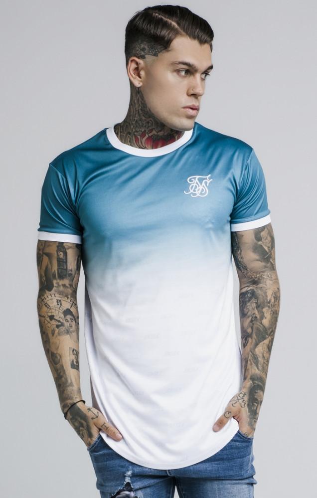 SIK SILK Tričko SikSilk Ringer Fade Gym Tee Farba: Modrá,Tyrkysová,