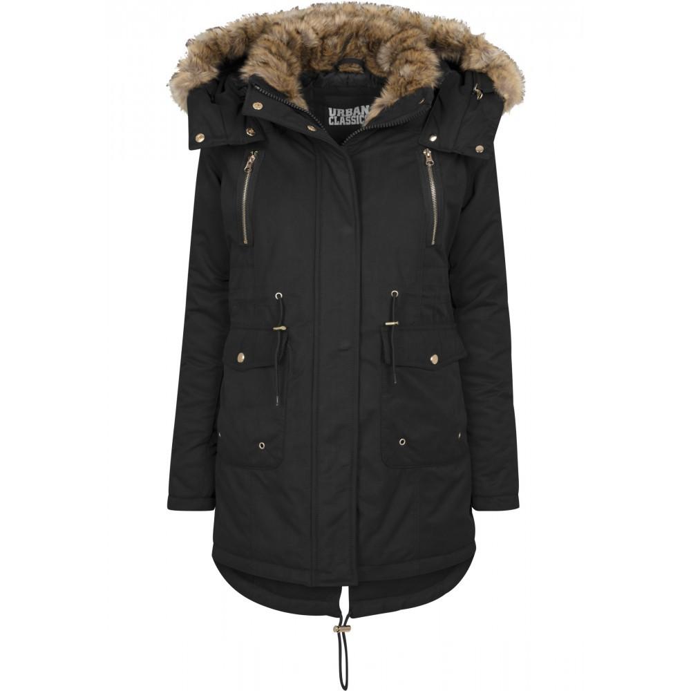 Urban CLASSICS Dámska čierna dlhá bunda s kožušinovou kapucňou a golierom e432e2ce940