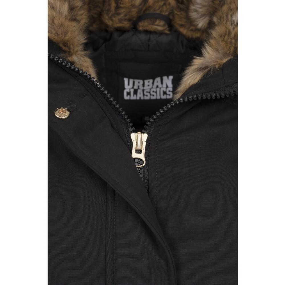 Urban CLASSICS Dámska čierna dlhá bunda s kožušinovou kapucňou a golierom  2 2e594bd574a