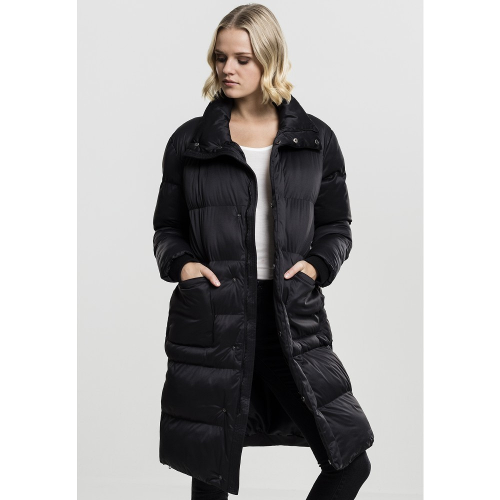 bd806af3c6e2 Urban CLASSICS Dámska čierna dlhá bunda s vysokým golierom Urban Clasissics