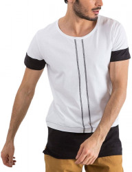 Biele pánske tričko s prúžkami N9996