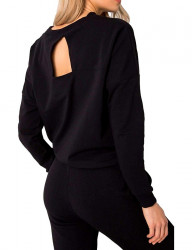 čierna dámska mikina s holým chrbtom N4967 #1