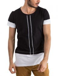 čierne pánske tričko s prúžkami Y0171