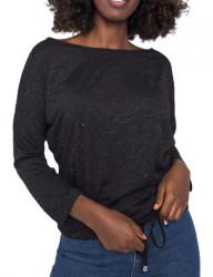 čierne tričko s viazaním Y1438
