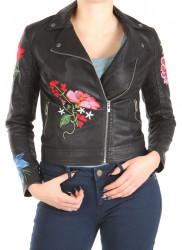 Dámska koženková bunda s výšivkou W1240