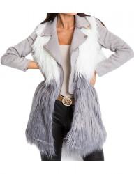 Dámska šedo-biela chlpatá vesta N6330