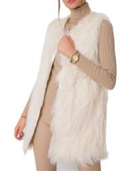 Dámska smotanovo biela chlpatá vesta N4636