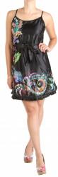 Dámske čierne lesklé šaty W0947